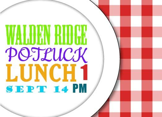 Walden Ridge Potluck September 14 at 1pm