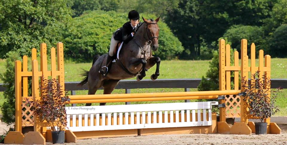 Horse and it's rider going over a yellow and white jump.